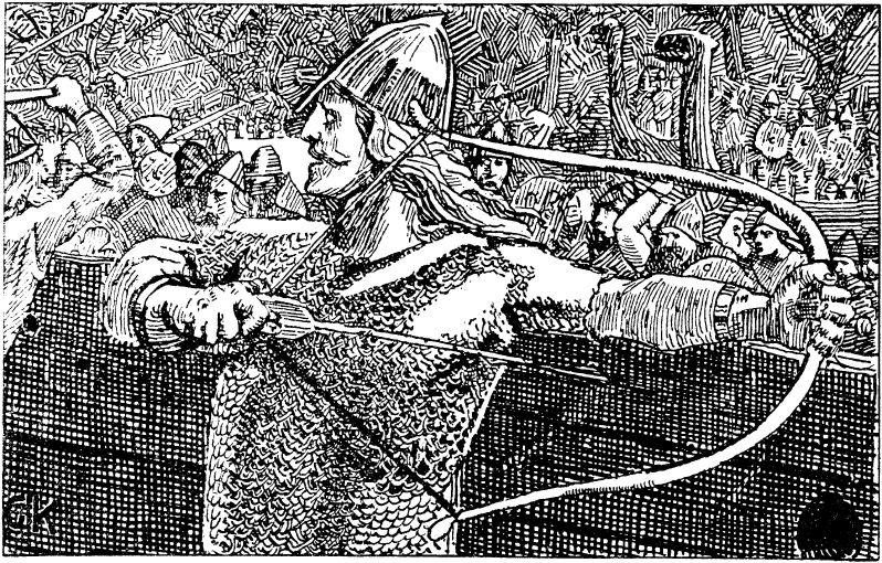 Einar Thambarskelfir probiert den Bogen des Königs